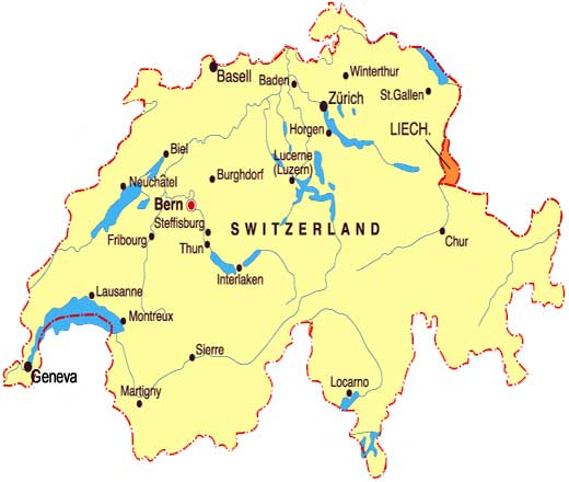 Switzerland Map Of: Switzerland Map With Cities At Slyspyder.com