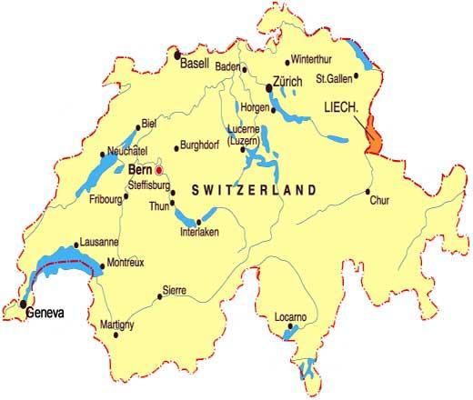 Switzerland Map, Map of Switzerland, Map Switzerland